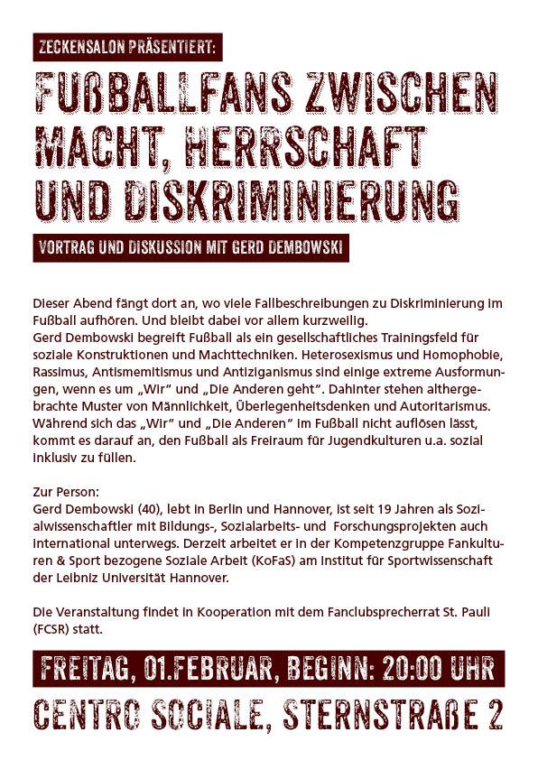 Fu�ballfans zwischen Macht, Herrschaft und Diskriminierung - Vortrag und Diskussion mit Gerd Dembowski