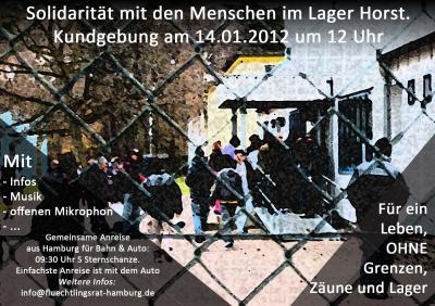 Flyer Kundgebung 14.01 Flüchtlingslager Horst
